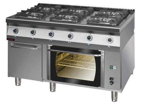 Kuchnia Gazowa Z Piekarnikiem Elektrycznym Z Termoobiegiem Kromet 900kg 6pe 1t